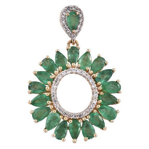 4 Carat Zambian Emerald and Cambodian Zircon Drop Pendant in 9K Gold 2.89 Grams