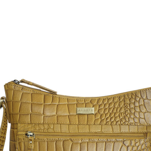 Assots London OLGA Croc Embossed Genuine Leather Crossbody Bag with Zipper Closure and Adjustable Strap (Size 30x9.5x26 Cm) - Mustard