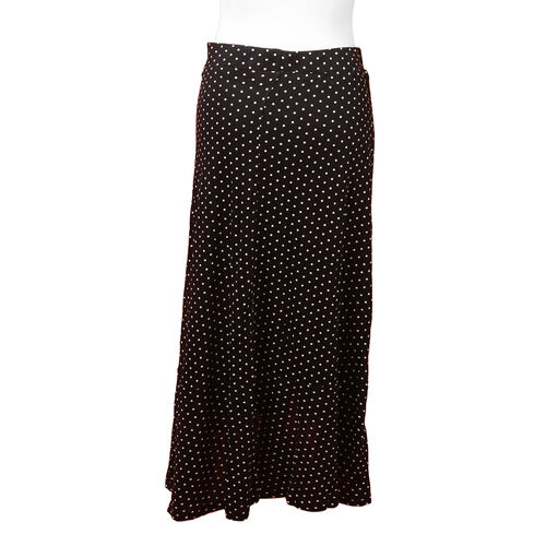 Polka Dot Printed Jersey Midi Skirt (Size XL/ 85 Cm) - Black