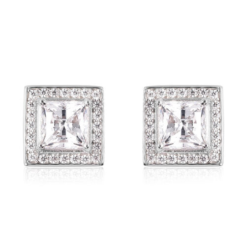 J Francis - Rhodium Overlay Sterling Silver Stud Earrings (with Push Back) Made with SWAROVSKI ZIRCO