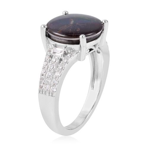 AA Canadian Ammolite (Rnd 12mm), White Topaz Ring in Rhodium Overlay Sterling Silver