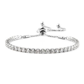 Simulated Diamond  Bracelet (Size - 8) in Siver Tone   6.440  Ct.