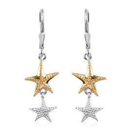 Platinum and Yellow Gold Overlay Sterling Silver Lever Back Starfish Earrings