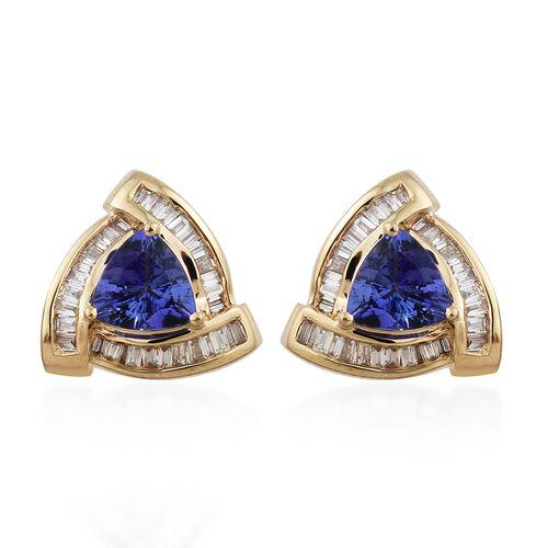 Limited Edition - ILIANA 18K Yellow Gold AAA Tanzanite (Trl), Diamond Stud Earrings 2.000 Ct., Gold wt 4.00 Gms.