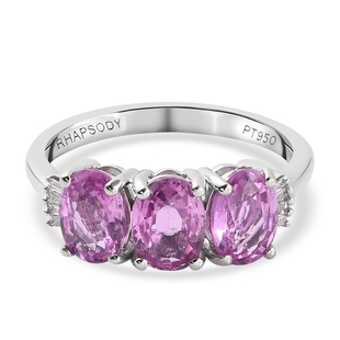 RHAPSODY 950 Platinum AAAA Pink Sapphire and Diamond (VS/E-F) Ring 3.06 Ct.
