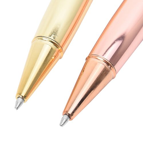 Set of 2 - Rose and Yellow Gold Pen with Shungite Stone in Stainless Steel (Size 14.3x1.3 Cm)
