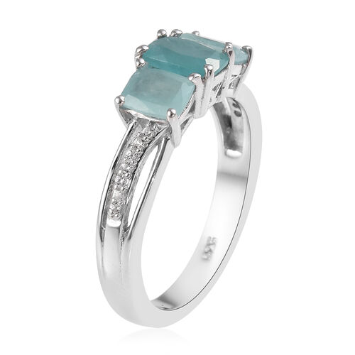 Grandidierite (Cush), Natural Cambodian Zircon Ring in Platinum Overlay Sterling Silver 1.25 Ct.