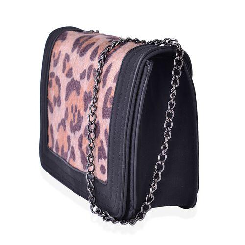 Black Colour with Leopard Pattern Faux Fur Crossbody Bag with Chain Strap (Size 21x15x6.5 Cm)
