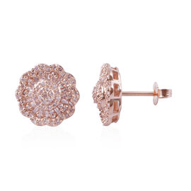 9K Rose Gold Natural Pink Diamond (Rnd and Bgt) Stud Earrings (with Push Back) 0.50 Ct.