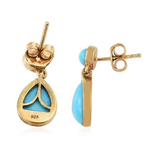 Arizona Sleeping Beauty Turquoise (Pear) Drop Earrings (with Push Back) in 14K Gold Overlay Sterling Silver 4.000 Ct.