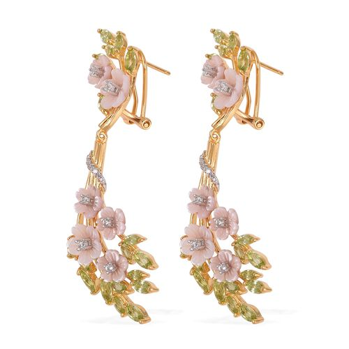 JARDIN COLLECTION - Pink Mother of Pearl, Hebei Peridot and Natural White Cambodian Zircon Earrings (with French Clasp) in Rhodium and Gold Overlay Sterling Silver, Silver wt 10.58 Gms