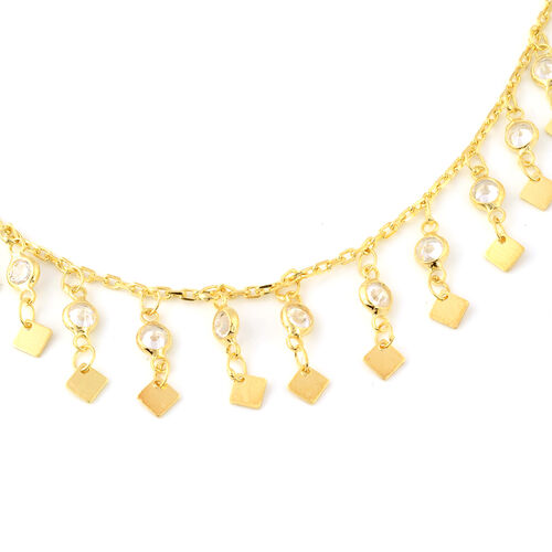 ELANZA Simulated Diamond Necklace (Size 16.5 with 2 inch Extender) in Yellow Gold Overlay Sterling Silver 4.58 Ct, Silver wt 5.14 Gms