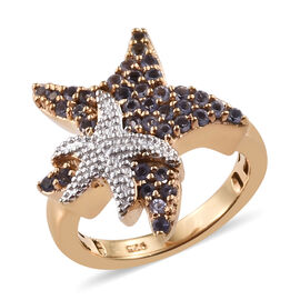 Iolite (Rnd) Star Fish Ring in 14K Gold Overlay Sterling Silver 0.500  Ct.