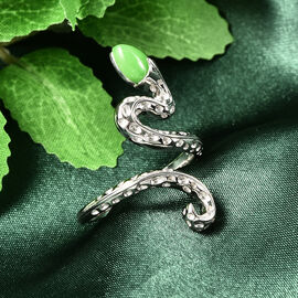 Rachel Galley Venom (Snakes) Collection - Green Jade Ring in Rhodium Overlay Sterling Silver