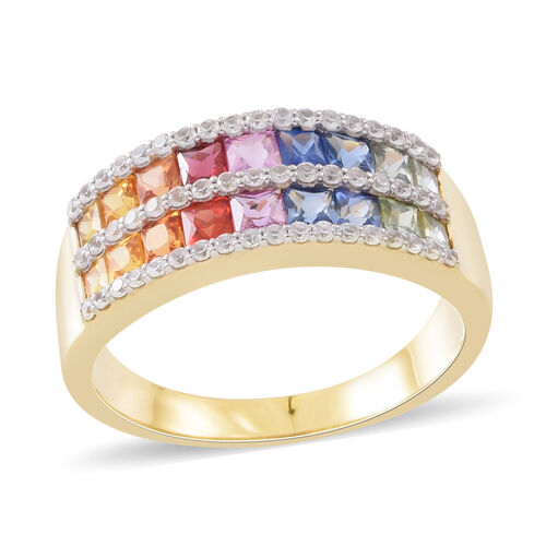 9K Yellow Gold Signature Collection AAA Rainbow Sapphire (Sqr), Natural White Cambodian Zircon Band Ring 3.500 Ct. Gold wt 5.60 Gms.