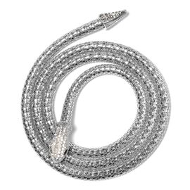 White Austrian Crystal and Simulated Black Spinel Snake Necklace (Size 49) in Silver Tone