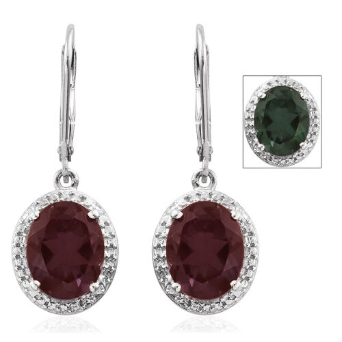 Colour Change Alexandrite Quartz (Ovl) Lever Back Earrings in Platinum Overlay Sterling Silver 5.500 Ct.