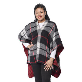 Double Sided Plaid Pattern Kimono with Tassel Hem in Red / Black and White (110x80+10cm)