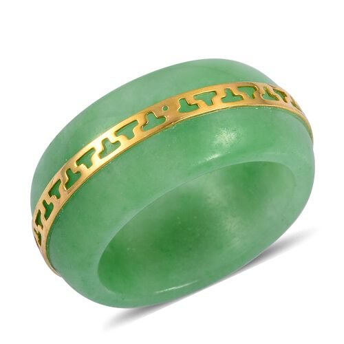 Green Jade Band Ring with Engraved 14K Yellow Gold Overlay Sterling Silver 22.150 Ct.