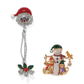 2 Piece Set - Simulated Pearl and Austrian Crystal Enamelled Brooch