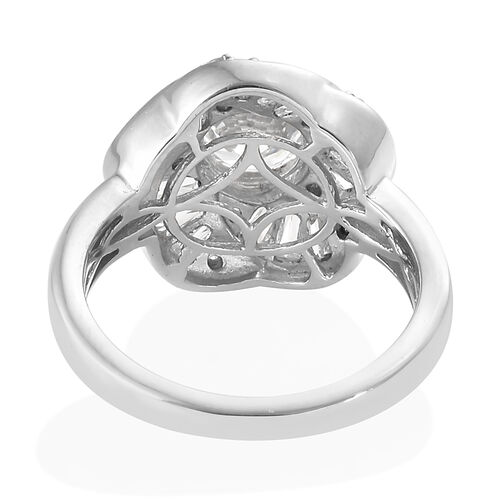 J Francis - Platinum Overlay Sterling Silver ( Rnd) Ring Made With SWAROVSKI ZIRCONIA