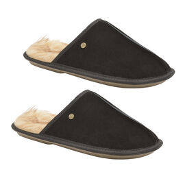 Dunlop Real Suede Memory Foam Fur Lined Mule Slippers in Black Colour