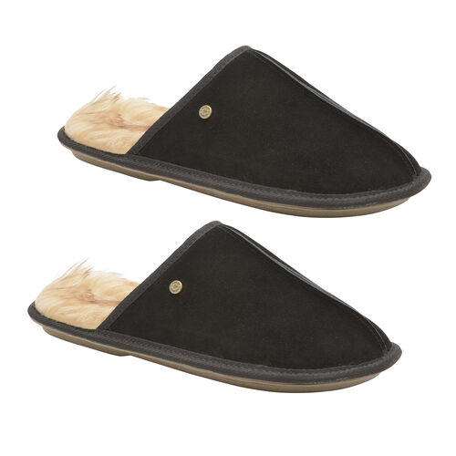 Dunlop Real Suede Memory Foam Fur Lined Mule Slippers (Size 7) - Black