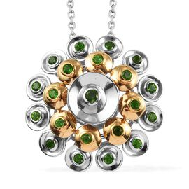 GP - Russian Diopside (Rnd), Blue Sapphire Pendant with Chain (Size 18) in Platinum and Yellow Gold