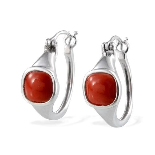 Natural Mediterranean Coral (Cush) Earrings in Platinum Overlay Sterling Silver 2.750 Ct.