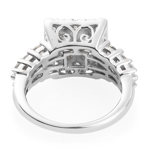 J Francis - Platinum Overlay Sterling Silver Ring Made with SWAROVSKI ZIRCONIA 3.76 Ct.