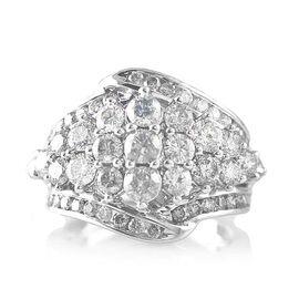 9K White Gold Diamond (Rnd) (12/G-H) Ring 3.000 Ct., Gold Wt. 6.50 Gms