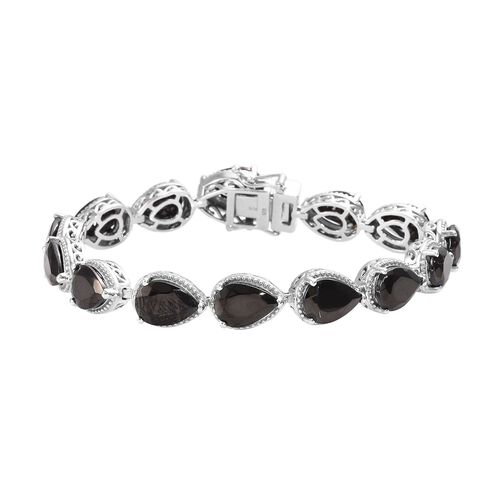 14.50 Ct Elite Shungite Tennis Design Bracelet in Platinum Plated Sterling Silver 15 Grams 7 Inch