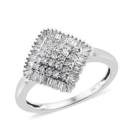 9K White Gold SGL Certified Diamond (Rnd and Bgt) (I2-13/G-H) Ring 0.500 Ct.
