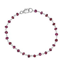 Mozambique Garnet (Rnd) Bracelet (Size 7.5) in Rhodium Overlay Sterling Silver 7.650 Ct.