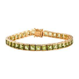 Hebei Peridot (Sqr) Bracelet (Size 7.5) in 14K Gold Overlay Sterling Silver 24.00 Ct, Silver wt 21.0