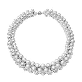 Beaded Necklace in Rhodium Plated Sterling Silver 209.91 Grams 20 Inch