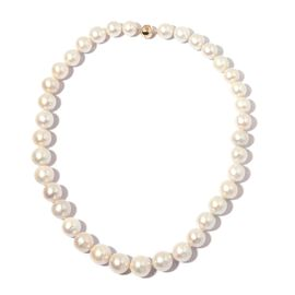 Signature Collection-9K Yellow Gold AAA White Edison Pearl (Rnd) Graduated Beads Necklace (Size 20)
