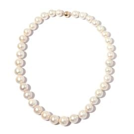 AAA White Edison Pearl Beaded Necklace in 9K Gold 1 Grams Size 20 Inch