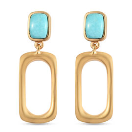 Arizona Sleeping Beauty Turquoise Dangling Earrings (with Push Back) in 14K Gold Overlay Sterling Si