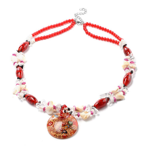 Red Murano Beads, White Austrian Crystal, Red Garnet and Multi Gemstone Nceklace (Size 28 with 3 inc