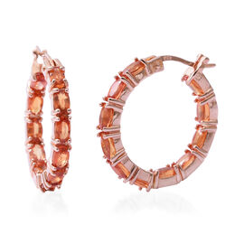 One Time Deal- AA Sunset Sapphire (Ovl) Hoop Earrings (with Clasp Lock) in Rose Gold Overlay Sterling Silver 6.800 Ct, Silver wt 5.20 Gms