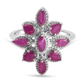 Burmese Ruby Cluster Ring in Platinum Overlay Sterling Silver 1.63 Ct.