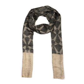 100% Cashmere Wool Geometric Pattern Scarf (Size 70x200 Cm) - Eclipse Melange