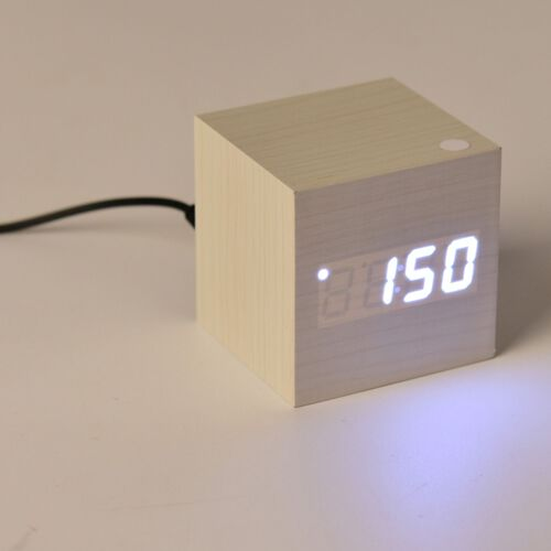 Wooden Style LED Clock (With Sound Activation, 3 Alarm Setting, Room Temperature, Date Display Feature)- White - White
