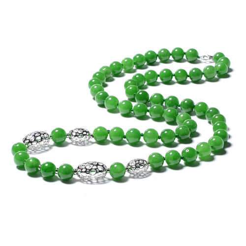 RACHEL GALLEY Green Jade Beads Necklace (Size 36) in Rhodium Overlay Sterling Silver 899.50 Ct.