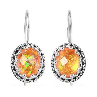 Sajen Silver Cultural Flair Collection - Quartz Doublet Simulated Opal Fire Earrings in Rhodium Over