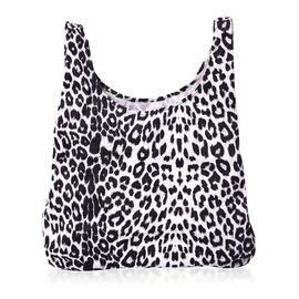 Leopard Pattern Velvet Shopping Bag (Size 41x32 Cm) - Black and White