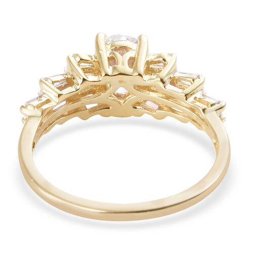 J Francis - 9K Yellow Gold (Ovl 7x5 mm) Ring Made with SWAROVSKI ZIRCONIA