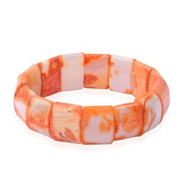 DOD - TJC Launch- Very Rare Size- Orange Agate (Cush 20X15 mm) Stretchable Bracelet (Size 7.5)  318.000 Ct