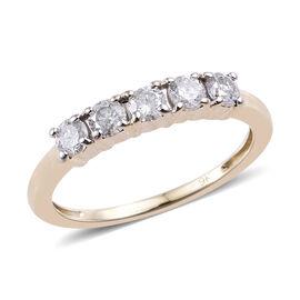 9K Yellow Gold SGL Certified Diamond (Rnd) (I2-I3/G-H) Five Stone Ring 0.500 Ct.